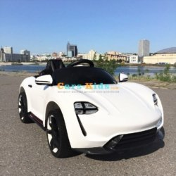 Электромобиль Porsche Sport М777МР белый (колеса резина, кресло кожа, пульт, музыка)