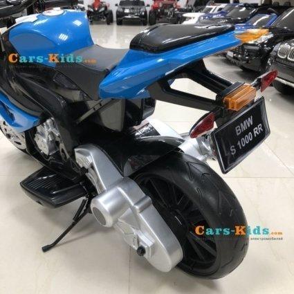 Электромобиль мотоцикл BMW S1000PR синий (колеса резина, кресло кожа, музыка)
