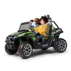 Электромобиль Багги Peg-Perego Polaris Ranger RZR Green Shadow 2019 (2х местный, колеса накладка резина, скорость до 10 км/ч, музыка)